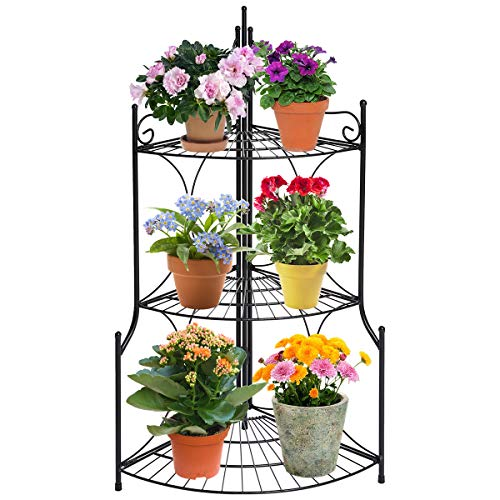 DOEWORKS 3 Tier Folding Plant Stand Pot Rack & Metal Corner Shelf, Storage Shelves for Living Room Bedroom (Iron Corner Plant Stand)