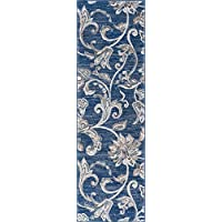 Garland Transitional Floral Navy Runner Rug, 2 x 10