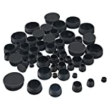 TecUnite 60 Pieces Mixed Sizes Black Round