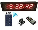 "GANXIN APP-Control 2.3"" High Character 6 Digits LED Wall Clock, With Countdown/up Digital Timer, 12/24-Hour Real Time Clock, Stopwatch by Remote Control"