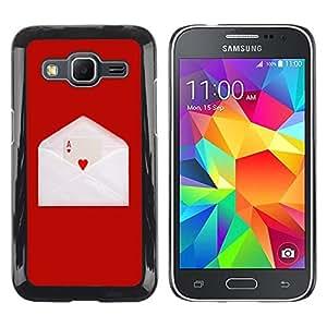 Be Good Phone Accessory // Dura Cáscara cubierta Protectora Caso Carcasa Funda de Protección para Samsung Galaxy Core Prime SM-G360 // Love Ace Heart Card Game Letter Envelope Red