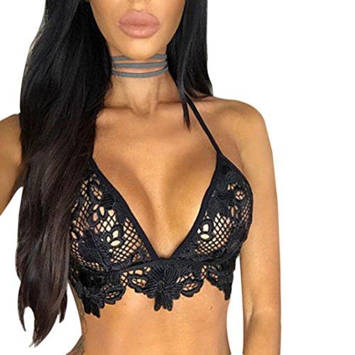 Bra,Han Shi Women Fashion Lace Choker Crop Tops Bralette Bustier Unpadded Bra Lingerie (XL, Black)