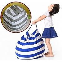EXTRA LARGE - Stuffed Animal Storage Bean Bag Chair| 26& 38 Extra Large | Light Blue | Premium Cotton Canvas