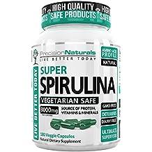 Spirulina CapsulesVegan - 3000mg/Serving - 500mg/tablet Complete Green Algae Protein Grown In California (Earthrise) Maximum Strength Supplement Gluten Free Non-irridated 180 Pills