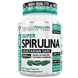 Spirulina Capsules Vegan - 3000mg/Serving - 500mg/tablet Complete Green Algae Protein Grown in California (Earthrise) Maximum Strength Supplement Gluten Free Non-irridated 180 Pills