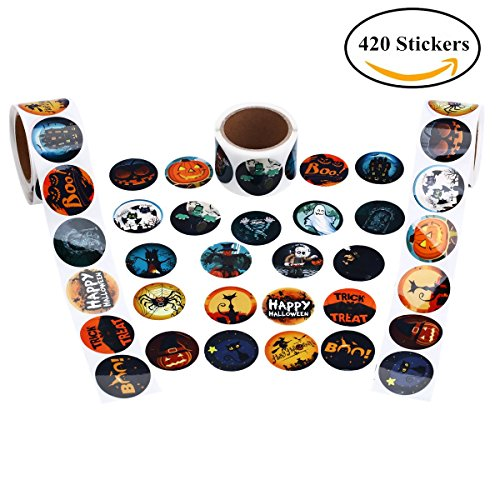 Cualfec Halloween Roll Stickers with 21 Designs - 420 (Halloween Printable Drink Labels)