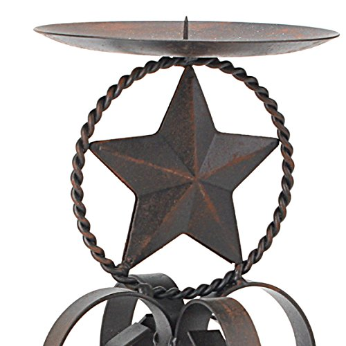 Stonebriar Rustic Western Star Metal Pillar Candle Holder with Rust Color Finish, Decorative Pillar Stand, Country Home Decor Accents, Large