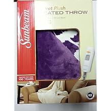 Sunbeam Electric Heated Throw Blanket Microplush Washable 3 Heat Setting Auto-Off Purple Floral