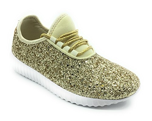 Forever Link Women's REMY-18 Glitter Fashion Sneakers Gold