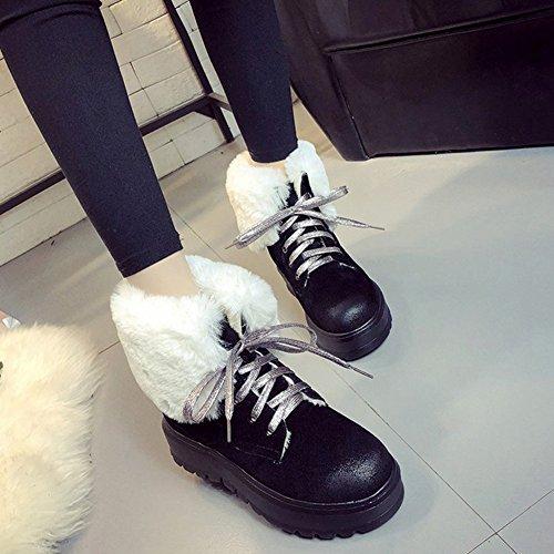 Btrada Womens Winter Fluffy Snow Boots Fodera In Pizzo Con Lacci Antiscivolo E Antiscivolo Martin Stivaletti Neri