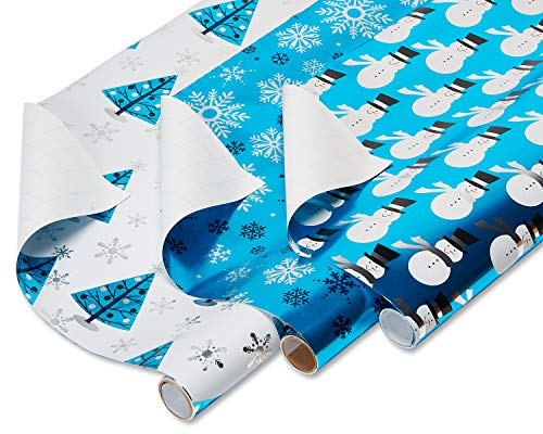 (American Greetings Foil Christmas Bulk Gift Wrapping Paper Bundle with Gridlines, 3 Rolls; Snowmen, Snowflakes, and Trees, 90 Total sq. ft.)