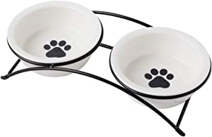 ZONEYILA Cat Food Dish, Elevated Cat Food Water Bowls,Raised Cat Bowls with Stand,Ceramic Pet Bowls, Shallow Cat Dish, Dog Food Bowls, 12 Oz