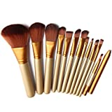 Aliliya Professional 12PCS Premium Luxurious Synthetic Hair Kabuki Makeup Brush Set Cosmetics Foundation Blending Blush Face Powder Brush Makeup Brush Kit - Golden Silver