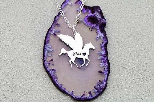- Winged Horse Pegasus Girl Necklace -IBD - Memorial Charm- Personalize with Name or Date - 935 Sterling Silver 14K Rose Gold Filled - Ships in 1 Business Day