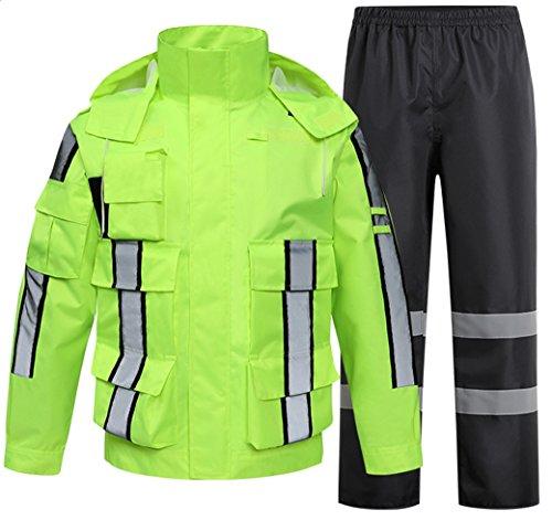 (Liveinu High Visibility Reflective Rain Jacket PVC Waterproof Safety Raincoat Hoodie Hi Viz Rain Suits for Men Neon Green 2 2XL)