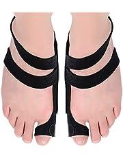 Bunion Corrector 2pcs Adjustable Bunion Splints and Big Toe Straighteners Separators Night Time Hallux Valgus Splints for Hammer Toe Pain Relief (BLACK)