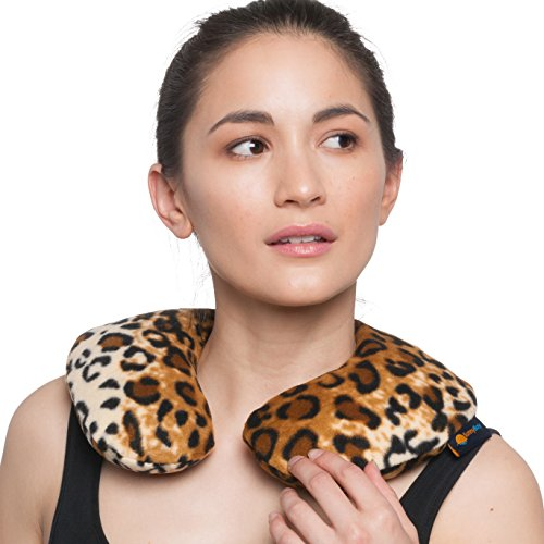 Sunny Bay Microwavable Heated Neck Pillow: Large Heat Therapy Pad for Sore Neck & Shoulder Muscle Pain Relief - Thermal, Personal, Reusable, Non Electric Hot Pack Pads or Cold Compress Wraps -Leopard