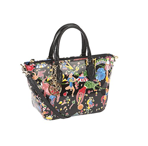Borsa a mano in Vernice Piero Guidi Magic Circus Flowers - Nero