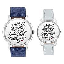 BigOwl Dial Analogue Leather band Couple Wrist Watch Combo f