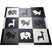 SoftTiles Kids Foam Play Mat - Safari Animals Theme- Nontoxic Puzzle Play Mats for Children's Playrooms or Baby Nursery- Large Floor Tiles (6.5' x 6.5') (Black, Gray, White) SCSAFBGW