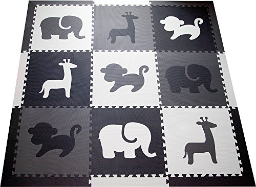 SoftTiles Kids Foam Play Mat - Safari Animals Theme- Nontoxic Puzzle Play Mats for Children's Playrooms or Baby Nursery- Large Floor Tiles for Crawling- Size 6.5 x 6.5 ft (Black, Gray, White) SCSAFBGW