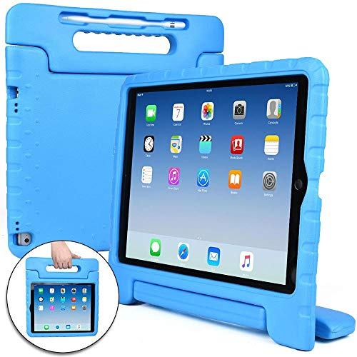 Cooper Dynamo [Rugged Kids Case] Protective Case for iPad Pro 12.9 1st 2nd Generation 2015 2017 | Child Proof Cover with Stand, Large Handle (Blue)