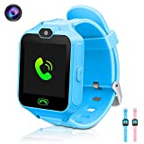Kids Smart Watch, Phone Game Smartwatches for Kids Wristwatch with Camera SOS Suitable for Android/ISO Cool Educational Toys Gifts Girls Boys (Blue)