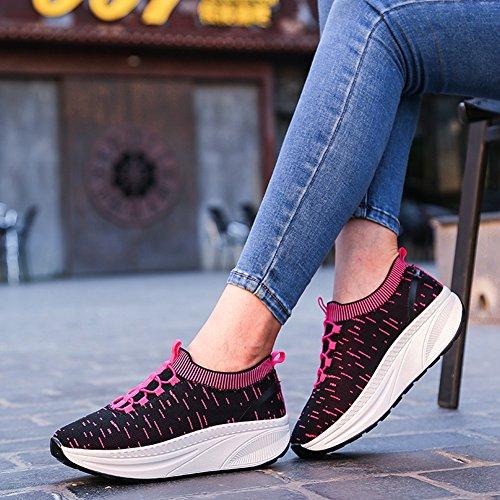 Cybling Kvinnor Plattform Kil Utbildare Sport Löparskor Mode Atletisk Motion Sneakers Röd Ros