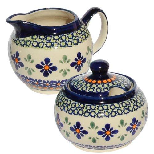 Polish Pottery Sugar Bowl and Creamer From Zaklady Ceramiczne Boleslawiec #694/711-du60 Unikat Pattern, Sugar Bowl: Height: 3.7