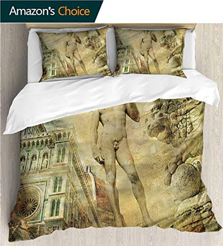 carmaxs-home Modern Pattern Printed Duvet Cover,Box Stitched,Soft,Breathable,Hypoallergenic,Fade Resistant 100% Cotton Beding Linens for Kids Children-Italy Florence Artistic Collage (87