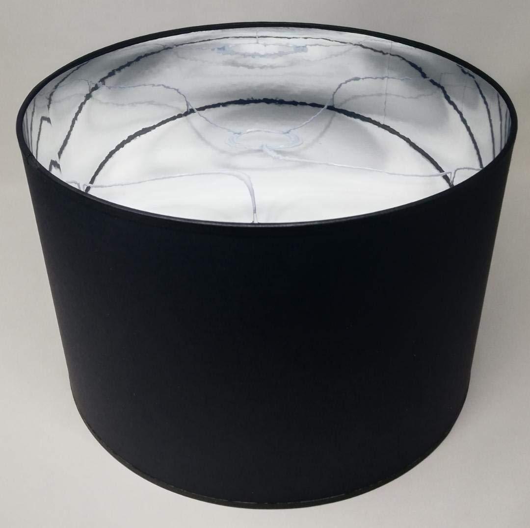 30 cm Durchmesser 20 cm H/öhe Lampenschirm Zylinderform schwarz Stoff Silber Futter handgefertigt verschiedene Gr/ö/ßen Deckenanh/änger Tisch