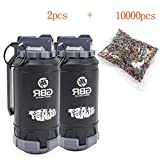 ActionUnion 2pcs Tactical CS Grenades Water Bullet Bomb Bullet BB Shower Rival Soft +10000pcs Crystal Water Bullets Impact Refill Spring Powered Round ABS for Airsoft BBS Foam Balls Game Toys Gift