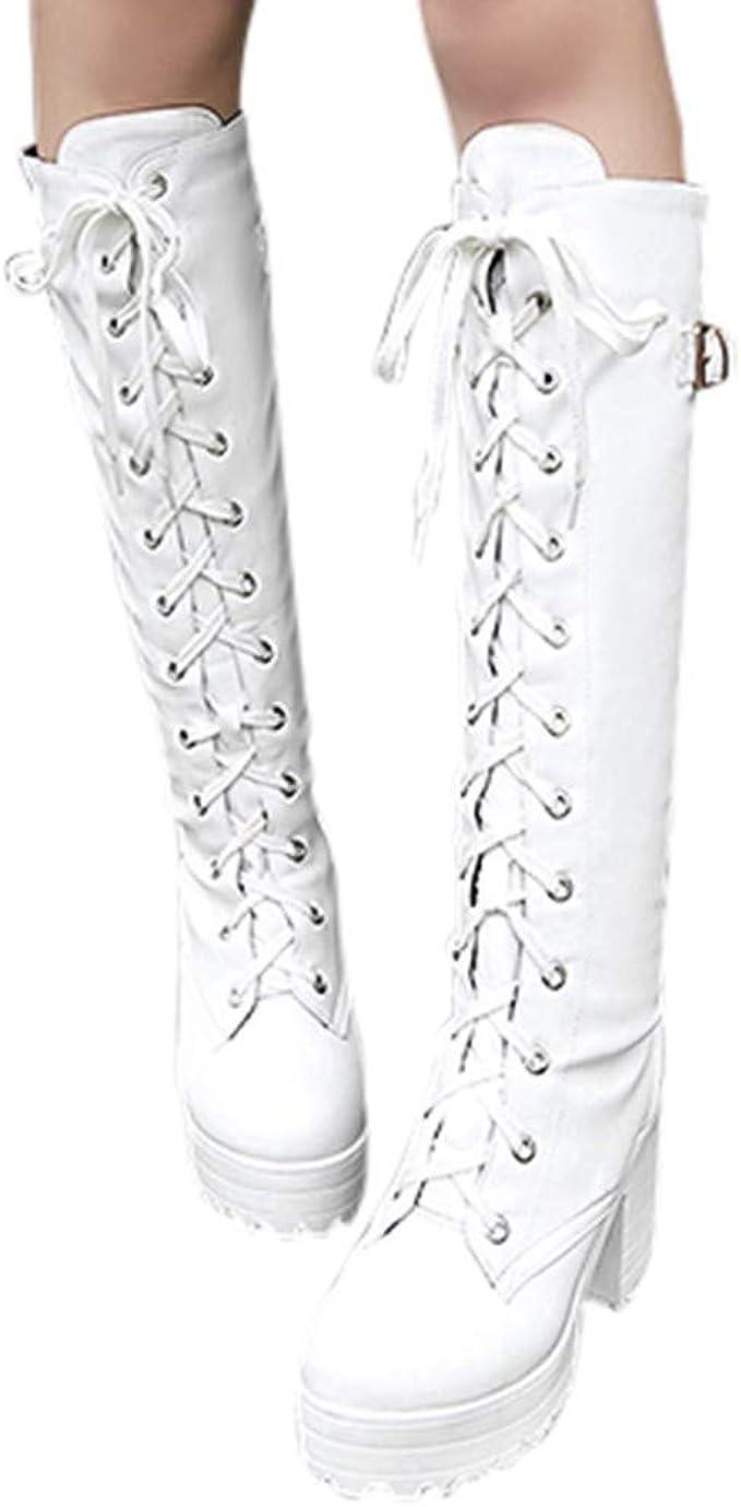 NPRADLA Mode Femmes Chaussures Cosplay Croix Cuir Nou/é Kneeth Plate-Forme Bottes Gothique Arcs Chaussures