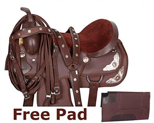 TEXAS STAR SILVER WESTERN PLEASURE TRAIL SHOW HORSE BARREL SADDLE FREE TACK SET COMFY (17)