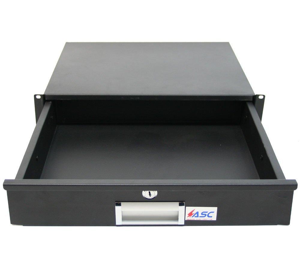 19'' Rack Mount 2U Key Lock Drawer Pro Audio DJ or Equipment Server Rack Locking Storage Cabinet - Black