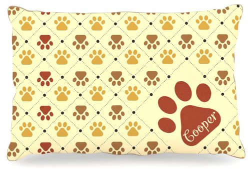 Kess InHouse KESS Original Cooper  Paw Checkered Pattern Name Fleece Dog Bed, 30 by 40-Inch, Red Yellow Tan Brown