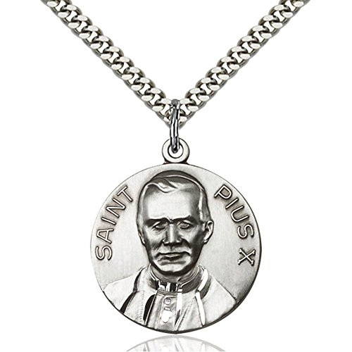 Sterling Silver Men's POPE PIUS X Pendant - Includes 24 Inch Heavy Curb Chain - Deluxe Gift Box Included