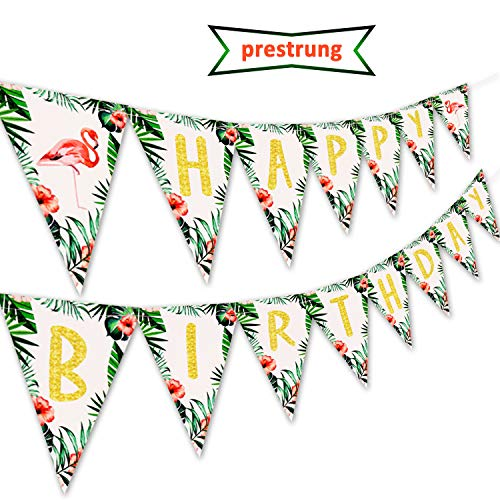 Kitticcino Flamingo Happy Birthday Banner Pennant for Hawaii Topical Palm Leaves Flamingle Party Banner Decorations -