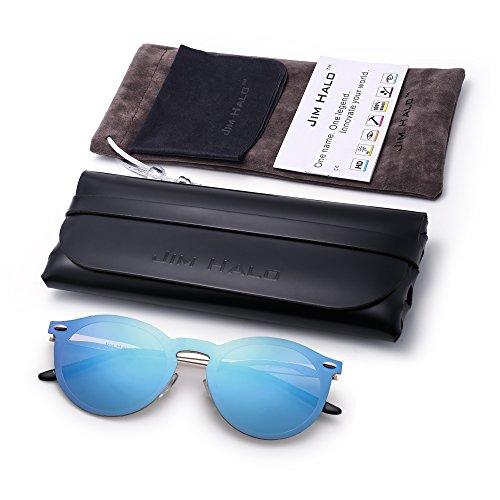 Or Bouclier Polarisé Club de Piece Soleil avec Rondes One Bleu Cadre Miroir Lunettes Sunglasses Sans Polarisé Lentilles wqz1dA6