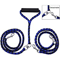 Startostar Detachable Double Dog Leash No-Tangle 2 in 1 Dual Pet Lead with Swivel Padded Handle for One or Two Dogs…