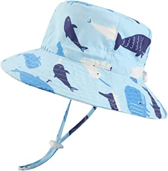 LACOFIA Sombrero de Sol bebé Gorro Verano para niñosSombrero Playa de ala Ancha Proteccion Solar para niños con Correa Ajustable para la Barbilla