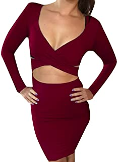 cda9999e21a Memorose Womens Sexy Long Sleeve Cut-Out Bandage Bodycon Clubwear Midi Dress