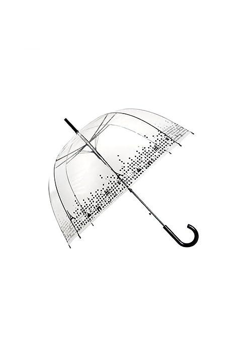 Paraguas transparente en forma de cúpula con diseño de borde