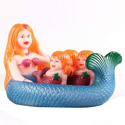 JIDSFIE Safe Rubber Mummy & Baby Shrilling Rubber Cute Sea Mermaid Family Bathtub Pals Floating Bath Tub Toy Let Baby Love Bathing -