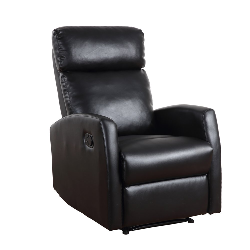 Dland Home Theater Seating Recliner Chair Compact Manual Leather Reclining Sofa Living Room Chairs, Black 8031