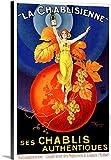 vintage advertisement - Canvas on Demand Premium Thick-Wrap Canvas Wall Art Print entitled Chablisienne Chablis Wine Vintage Advertising Poster 32