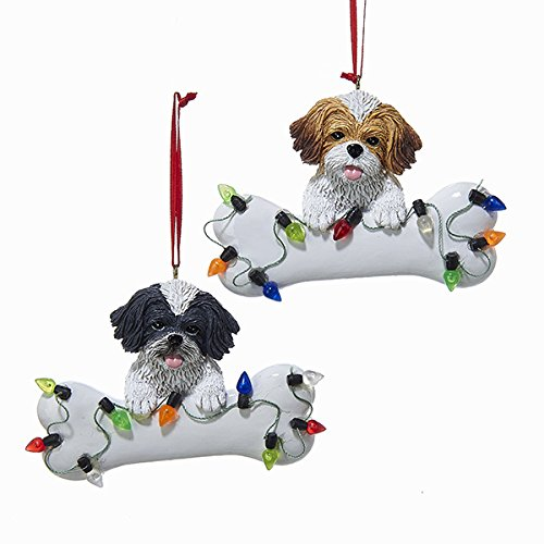 Kurt Adler Shih-Tzu with Bone Resin Ornaments Set of 2 Assorted (Bone Shih Tzu)