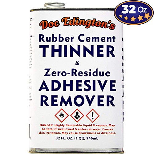 - Doc Edingtons Rubber Cement Thinner & Adhesive Remover 32oz. Amazing Zero-Residue, Non-Staining & Low-Odor Formula. Great for Fast, Damage-Free Sticker Removal for Book Repair & FBA Retail Arbitrage