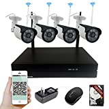 YUCHENG 4CH Auto-Pair 1080P WiFi Wireless NVR Kit System Home Surveilliance Security System 1TB Seagate HDD with 4 Outdoor Night Vision HD 2.0MP IP Cameras