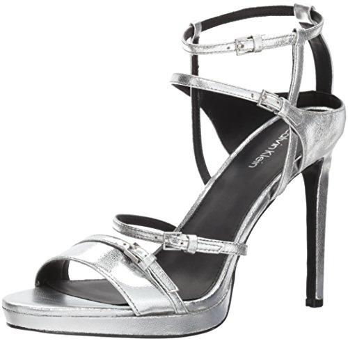 Calvin Klein Women's Shantell Heeled Sandal, Silver, 8 Medium US